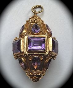 Vintage Italian 18k Amethyst Etruscan Style Lg Charm Pendant from bejewelled on Ruby Lane