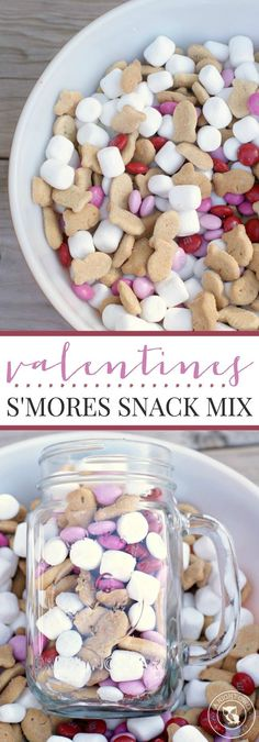 Snack Mix Valentines Smores Snack Mix - a delicious and festive combination of graham, chocolate and marshmallow in a snack mix!Valentines Smores Snack Mix - a delicious and festive combination of graham, chocolate and marshmallow in a snack mix! Valentines Day Food, Kinder Valentines, Valentine Treats, Holiday Treats, Holiday Recipes, Valentine Party, Holiday Desserts, Printable Valentine, Homemade Valentines