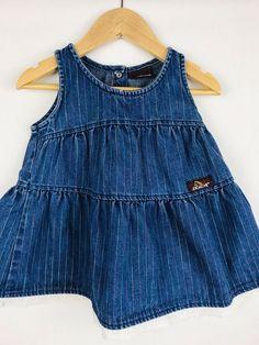 20da2e9f41 Details about Vintage Jordache Jeans Baby Denim Dress Eyelet Lace Rainbow  Stripes 12-18mo