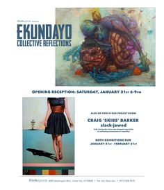 Ekundayo showing in Thinkspace Gallery's main room while Craig 'Skibs' Barker took over the project room.   Ekundayo 'Collective Reflections'  Ekundayo is a Hawaii based artist whose mixed media work harnesses the visual power of the subconscious through hyperbole and juxtaposition. Owing to his mastery of a surreal grotesque and his early beginnings as a graffiti artist, Ekundayo's work is monumental and larger than life.