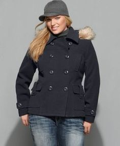 Dollhouse Plus Size Coat, Hooded Faux-Fur-Trim Pea Coat//Macy's ...