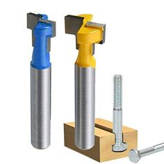 "Yakamoz 1/4"" Shank T-Slot Cutter Router Bit Steel Handle 3/8"" & 1/2"" Length Woodworking Cutters For Power Tools"