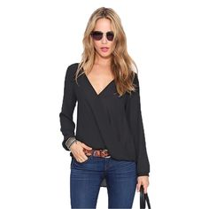 Womens Plunge V neck Loose Fit Blouse Tee Shirt (Red and Black)
