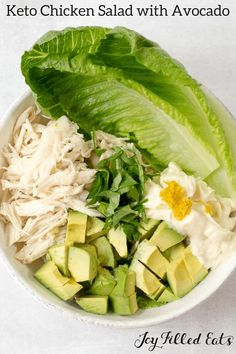 Keto Chicken Salad with Avocado - Low Carb, Grain-Free, Gluten-Free, Dairy-Free, Paleo, Whole30, THM S, 5 Ingredients, Easy. This is the Best Chicken Salad I have ever tried. With only 5 ingredients it is the perfect easy lunch on a warm day. #LowCarb #GrainFree #GlutenFree #DairyFree #Paleo #Whole30 #THM #Keto