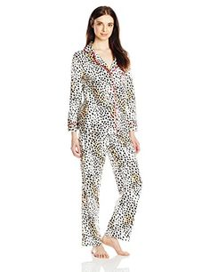 4494cb1d2bf Betsey Johnson Women's Packaged Flannel Pajama Set, Dreamy Cheetah, Small  at Amazon Women's Clothing store: