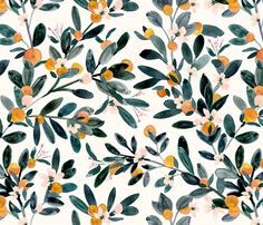 Fabric clementine sprigs-white