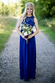 Country Bridesmaid Dresses 2016 Long For Wedding Royal Blue Chiffon Lace Illusion Neck Sheer With Beads Plus Size Party Maid Honor Under 100 Online with $85.87/Piece on Haiyan4419's Store | DHgate.com