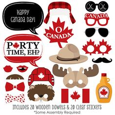 The perfect photo booth begins with fabulous photo booth props. Our printed and cut kit will help you easily create fun party photos at your next Canada Day party. This Canada Day party photo booth props kit come with 20 pieces, one of which is personaliz Sweet 16, Canada Day Party, Canada Holiday, Big Dot Of Happiness, Photo Booth Backdrop, Photo Props, Happy Canada Day, Clear Stickers, Time To Celebrate