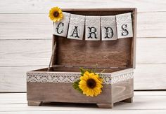 Sunflower Cards Box Rustic Wedding Card Box Sunflower Wedding Advice Wishes Box…
