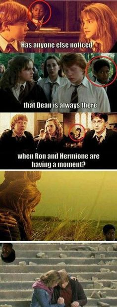 Lol, Dean why you gotta do that Dean Harry Potter, Harry Potter Puns, Harry Potter Ships, Harry Potter Style, Harry Potter Hermione Granger, Harry And Hermione, Nerd Jokes, Harry Potter Pictures, Galleries