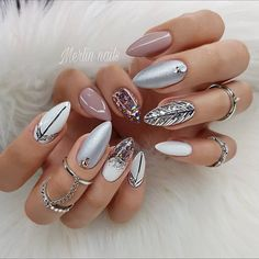The trend of almond shape nails has been increasing in recent years. Many women who love nails like almond nail art designs. Almond shape nails are suitable for all colors and patterns. Almond nails can be designed to be very luxurious and fashionabl Cute Summer Nail Designs, Cute Summer Nails, Fall Nail Designs, Beautiful Nail Designs, Simple Nail Designs, Acrylic Nail Designs, Spring Nails, Pedicure Designs, Summer Design