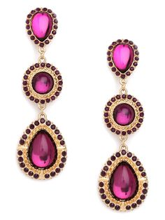 Go ahead, give in to those violet tendencies with these stunning statement earrings. They're elegant and posh, through and through, with a glitzy array of amethyst-like gems and matching faceted crystals.  This is part of the BaubleBar + Nina Garcia Bejeweled Collection