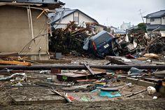 Wires Poles Cars and Oil Ishinomaki Higashi Matsushima Yamoto Japan Earthquake Tsunami Disaster and Destruction Miyagi 2011  | Car photo