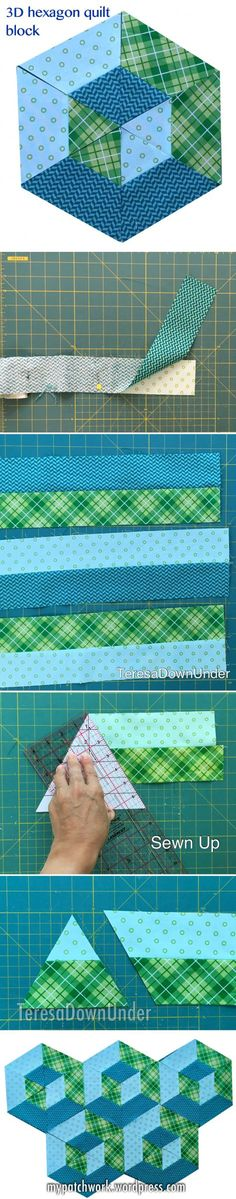 Sewing Tips 652740539715031349 - video tutorial: hexagon quilt block Idea for an equaleral triangle & half-hexie quilt design Source by francoisecampeaux Patchwork Patterns, Quilt Block Patterns, Pattern Blocks, Quilt Blocks, Patchwork Quilting, Hexagon Quilting, 3d Quilts, Amish Quilts, Hexagon Patchwork