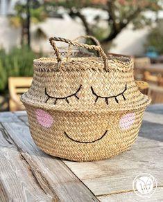 "Korb ""Smile"" Pop Up, Buddha Kopf, Bronze, Straw Bag, Nice, Bags, Starfish, Handbags, Popup"