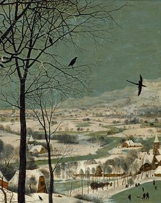 Pieter Bruegel d., Jäger im Schnee - Winter ( The Hunters in the Snow) Detail Hunters In The Snow, Pieter Bruegel The Elder, Renaissance Paintings, Illustration Art, Illustrations, Printmaking, Winter, Sunrise, Cool Designs