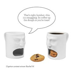 Chomping At The Bite  Put a smile on that mug with a hungry mouth cubby that bites off more than you can chew. Perfect for serving milk and cookies, coffee and doughnuts, tea and biscotti, or your favorite snack-time combinations. Exclusively at UncommonGoods. Made of ceramic in China.