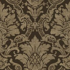 Distressed Damask by Warner Wallcoverings | AmericanBlinds.com