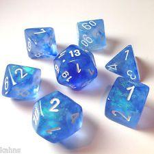 Chessex Dice Poly - Sky Blue Borealis - Set Of 7- 27426 - Free Velvet Bag!   DnD