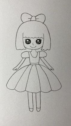 Disney Drawings Sketches, Girl Drawing Sketches, Girly Drawings, Princess Drawings, Art Drawings Sketches Simple, Drawing Drawing, Drawing Ideas, Easy Doodles Drawings, Easy Cartoon Drawings
