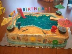 I made this Homemade Pool Party Birthday Cake for 2 of my boys. I used 2 pans. I baked them both and placed them in the fridge for easier frosting. Pool Birthday Cakes, Pool Party Cakes, Pool Cake, Luau Birthday, 12th Birthday, Birthday Ideas, Beach Cakes, Sour Candy, Homemade Cakes