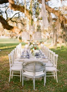Elegant outdoor tablescape: http://www.stylemepretty.com/south-carolina-weddings/charleston/2015/11/02/elegant-autumn-plantation-wedding-inspiration-in-charleston/ | Photography: Theo Milo - http://theomilophotography.com/