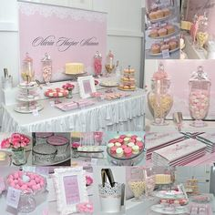 christening dessert table lace and pearl theme