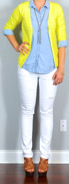 Outfit Posts: outfit posts: yellow cardigan, chambray shirt, white distressed jeans, brown wedges