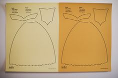 8.5 x 11 inch paper dress template for Belle from Disney's Beauty and the Beast, Tiana from Disney's The Princess and the Frog