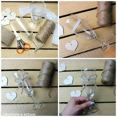 Prosty sposób na kieliszki weselne w stylu rustykalnym 🍷🍷