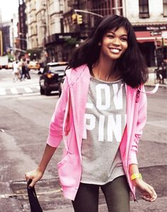 Chanel Iman rocking some of her fave PINK pieces in downtown New York. Get her style! Mix and match neutrals with bold hues for a perfect color combo.