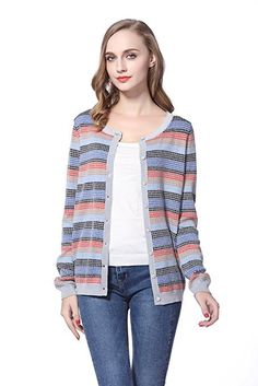"""Knitbest Women's Knitwear Long Sleeve Striped Checked Button Down Wool Cardigan※55% mercerized wool 45% viscose※Machine Wash - Cold (30° Max)※Model is wearing a size Medium / Model's profile:174cm, Bust:33in, Waist:23""""6in, Hip:34""""6in"""