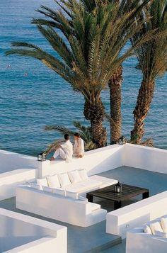 Almyra Hotel, luxury boutique hotel in Paphos, Cyprus Outdoor Spaces, Outdoor Living, Cyprus Hotels, Casa Hotel, Pergola, Coastal Living, Coastal Style, Luxury Living, Beach Club