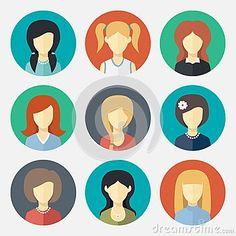 Set of girl avatar icons