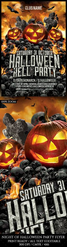 Halloween Hell Party Flyer Template PSD. Download here: https://graphicriver.net/item/halloween-hell-party/17591602?ref=ksioks