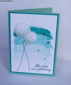 Blog: www.bastelkunst.blogspot.de FB: Bastelkunst  Karte, Stampin Up, Glückwunsch, Geburtstag, Partyballons, Gorgeous Grunge