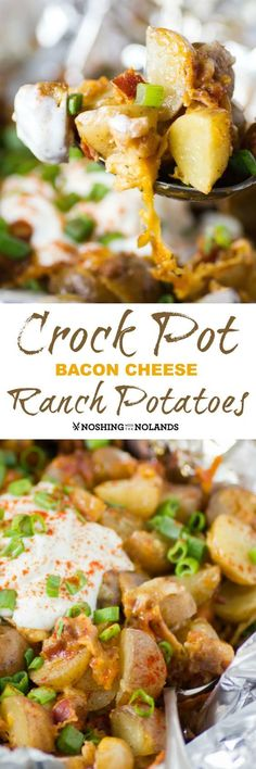 Crock Pot Bacon Cheese Ranch Potatoes are super easy to make and will be loved by everyone for their wonderful flavor! Great with a BBQ or any weeknight meal.