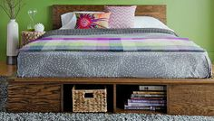 Cut from plywood and customizable to any size mattress, this platform bed eliminates the need for a box spring and adds lots of storage.  Skill level: Intermediate