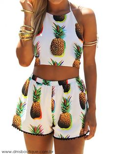 Sexy Pineapple Print Cami Crop Backless Vest Shorts Set Two-Piece 7513247 sold by Eternal Apparel. Shop more products from Eternal Apparel on Storenvy, the home of independent small businesses all over the world. Crop Top And Shorts, Crop Tops, Loose Shorts, White Shorts, Patterned Shorts, Casual Shorts, Pineapple Clothes, Summer Outfits, Cute Outfits