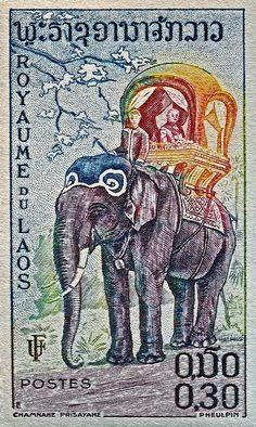 1958 Laos Elephant Stamp Photograph  - 1958 Laos Elephant Stamp Fine Art Print ~ #Laos #art #photography #macro @wfowen :)