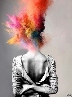 Art Black and White Color Explosion Deep Meaningful Imagination Photo Photography Painting Emotional Photography Projects, Art Photography, Head Explosion, Elephant Man, Meaningful Photos, Frida Art, Dark Drawings, Deep Art, A Level Art