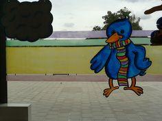 Raamschildering Raai de Kraai Kleuterplein