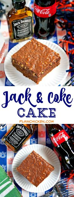 Jack and Coke Cake - our favorite drink in cake form! Homemade buttermilk chocolate cake and fudge frosting spiked with Jack Daniels. SO good! Great for a potluck and tailgate party!