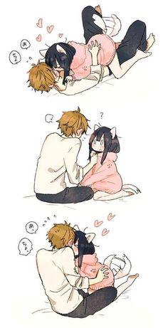 Anime, couple, and kawaii image Anime Neko, Kawaii Anime Girl, Otaku Anime, Manga Anime, Anime Art, Anime Couples Drawings, Anime Couples Manga, Anime Comics, Cartoon Noses