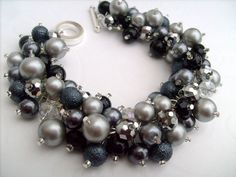 Reserved for Krispyfalcon Set of 5 Pearl Bridesmaid Bracelets, Bridesmaid Jewelry, Custom Colours, Cluster Bracelet, Pearl Beaded Bracelet via Etsy