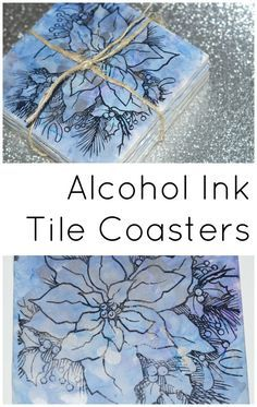 Stamped alcohol ink upcycled tile coasters - still plenty of time to make these before Christmas!!! Diy Tile Coasters, Drink Coasters, How To Make Coasters, How To Make Tiles, Making Coasters, Homemade Coasters, Alcohol Ink Glass, Alcohol Glasses, Alcohol Ink Tiles