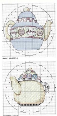 Cross stitch pattern, teapot.