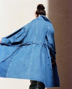 Scotch /& Soda Herren Coated Denim Clean Trench Coat Mantel