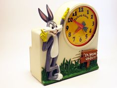 OMG! My little sister had this alarm clock when we were kids! It was the motivation for me to move out and get my own bedroom! 1974 Bugs Bunny Talking Wind-Up Alarm Clock  Equity Janex Corp.