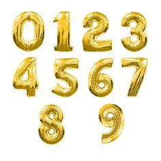 """Especially to ring in the new year -  40"""" Number Balloons - Gold Foil shoptomkat.com"""